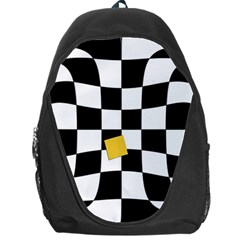 Dropout Yellow Black And White Distorted Check Backpack Bag by designworld65