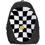 Dropout Yellow Black And White Distorted Check Backpack Bag Front