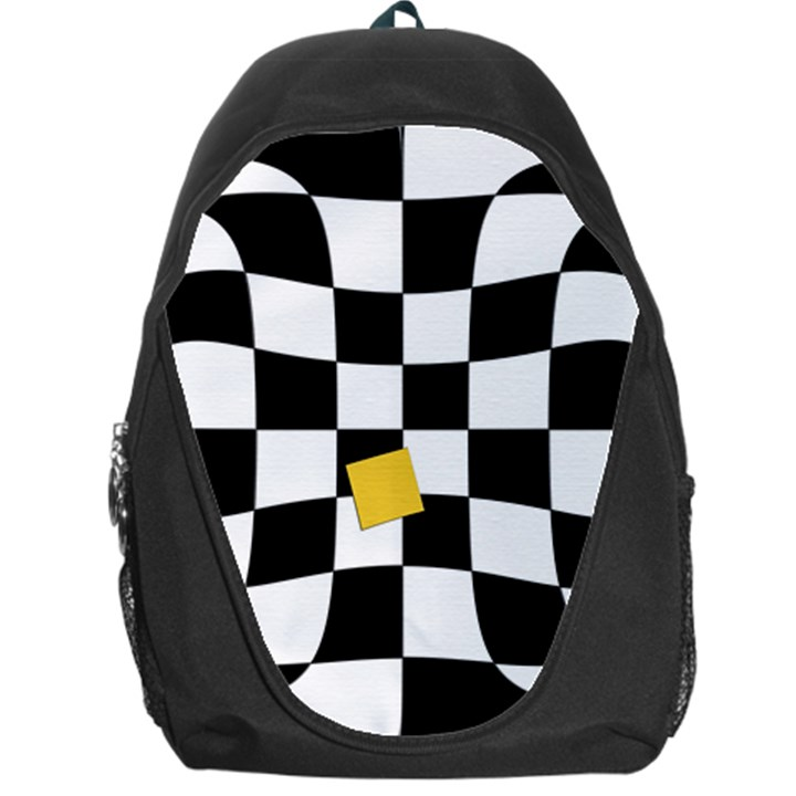 Dropout Yellow Black And White Distorted Check Backpack Bag