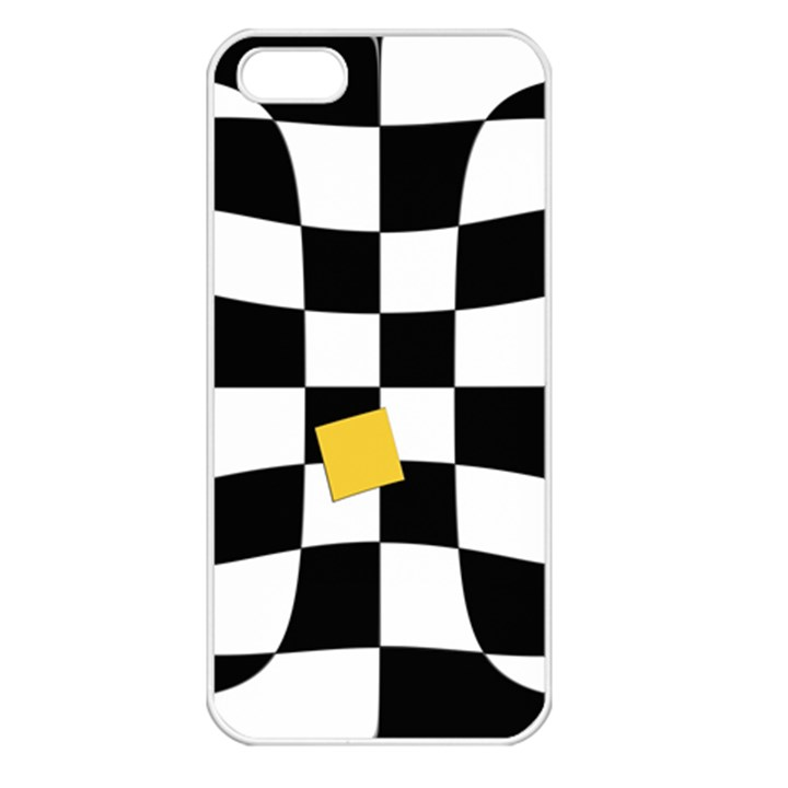 Dropout Yellow Black And White Distorted Check Apple iPhone 5 Seamless Case (White)