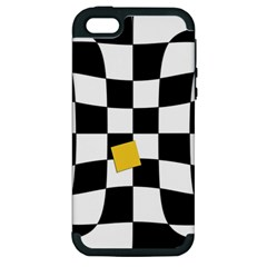 Dropout Yellow Black And White Distorted Check Apple Iphone 5 Hardshell Case (pc+silicone) by designworld65