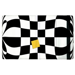 Dropout Yellow Black And White Distorted Check Apple Ipad 3/4 Flip Case by designworld65