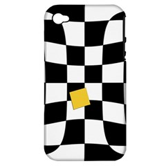 Dropout Yellow Black And White Distorted Check Apple Iphone 4/4s Hardshell Case (pc+silicone) by designworld65