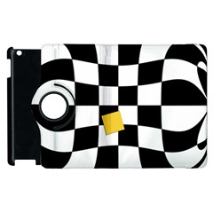 Dropout Yellow Black And White Distorted Check Apple Ipad 2 Flip 360 Case by designworld65