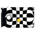 Dropout Yellow Black And White Distorted Check Apple iPad 3/4 Flip 360 Case Front