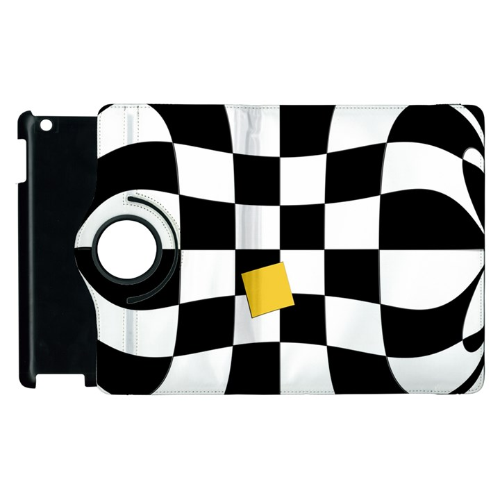 Dropout Yellow Black And White Distorted Check Apple iPad 3/4 Flip 360 Case
