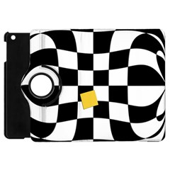 Dropout Yellow Black And White Distorted Check Apple Ipad Mini Flip 360 Case