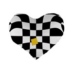 Dropout Yellow Black And White Distorted Check Standard 16  Premium Heart Shape Cushions Back