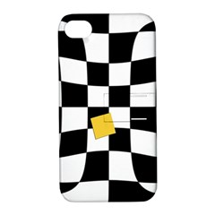 Dropout Yellow Black And White Distorted Check Apple Iphone 4/4s Hardshell Case With Stand