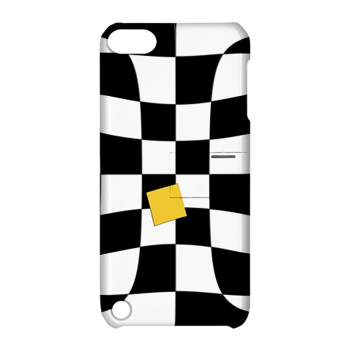 Dropout Yellow Black And White Distorted Check Apple iPod Touch 5 Hardshell Case with Stand
