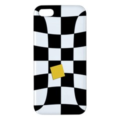 Dropout Yellow Black And White Distorted Check Apple Iphone 5 Premium Hardshell Case by designworld65