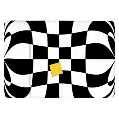 Dropout Yellow Black And White Distorted Check Samsung Galaxy Tab 8 9  P7300 Flip Case by designworld65