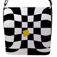 Dropout Yellow Black And White Distorted Check Flap Messenger Bag (s) by designworld65
