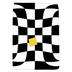 Dropout Yellow Black And White Distorted Check Flap Covers (s)  by designworld65