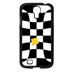 Dropout Yellow Black And White Distorted Check Samsung Galaxy S4 I9500/ I9505 Case (black) by designworld65