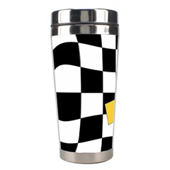 Dropout Yellow Black And White Distorted Check Stainless Steel Travel Tumblers by designworld65