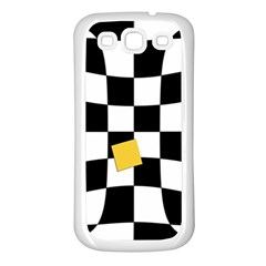 Dropout Yellow Black And White Distorted Check Samsung Galaxy S3 Back Case (white) by designworld65