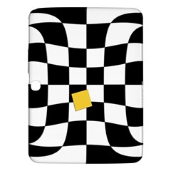Dropout Yellow Black And White Distorted Check Samsung Galaxy Tab 3 (10 1 ) P5200 Hardshell Case  by designworld65