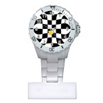 Dropout Yellow Black And White Distorted Check Plastic Nurses Watch Front