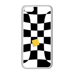 Dropout Yellow Black And White Distorted Check Apple Iphone 5c Seamless Case (white) by designworld65