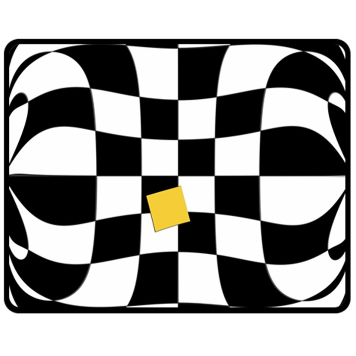Dropout Yellow Black And White Distorted Check Double Sided Fleece Blanket (Medium)