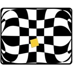 Dropout Yellow Black And White Distorted Check Double Sided Fleece Blanket (Medium)  58.8 x47.4 Blanket Back