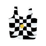 Dropout Yellow Black And White Distorted Check Full Print Recycle Bags (S)  Back