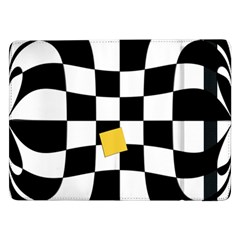 Dropout Yellow Black And White Distorted Check Samsung Galaxy Tab Pro 12 2  Flip Case