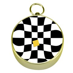 Dropout Yellow Black And White Distorted Check Gold Compasses by designworld65