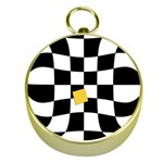 Dropout Yellow Black And White Distorted Check Gold Compasses Front