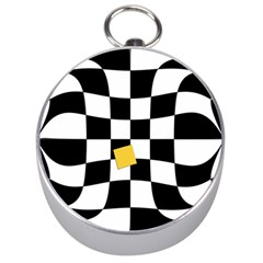 Dropout Yellow Black And White Distorted Check Silver Compasses