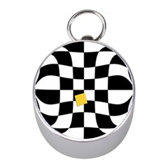 Dropout Yellow Black And White Distorted Check Mini Silver Compasses by designworld65