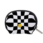 Dropout Yellow Black And White Distorted Check Accessory Pouches (Small)  Back