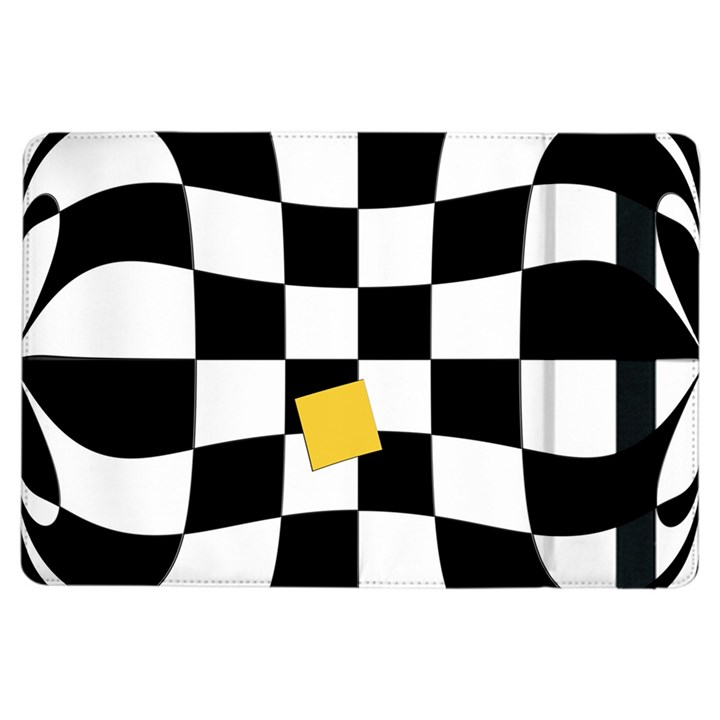 Dropout Yellow Black And White Distorted Check iPad Air Flip