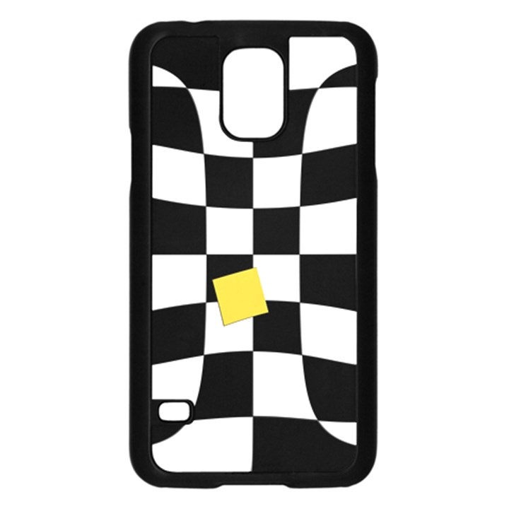 Dropout Yellow Black And White Distorted Check Samsung Galaxy S5 Case (Black)