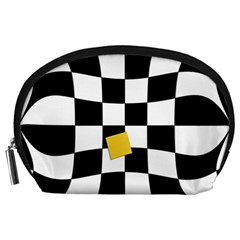 Dropout Yellow Black And White Distorted Check Accessory Pouches (large)  by designworld65