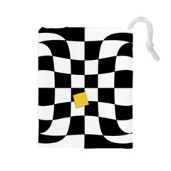 Dropout Yellow Black And White Distorted Check Drawstring Pouches (large)  by designworld65
