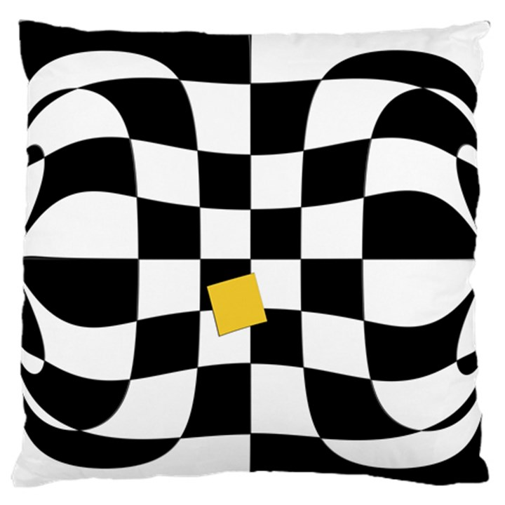 Dropout Yellow Black And White Distorted Check Large Flano Cushion Case (One Side)