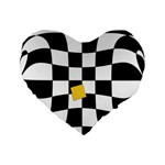 Dropout Yellow Black And White Distorted Check Standard 16  Premium Flano Heart Shape Cushions Front