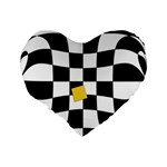 Dropout Yellow Black And White Distorted Check Standard 16  Premium Flano Heart Shape Cushions Back