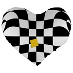 Dropout Yellow Black And White Distorted Check Large 19  Premium Flano Heart Shape Cushions Front