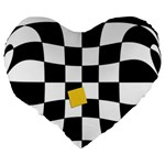 Dropout Yellow Black And White Distorted Check Large 19  Premium Flano Heart Shape Cushions Back