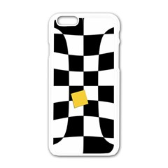 Dropout Yellow Black And White Distorted Check Apple Iphone 6/6s White Enamel Case
