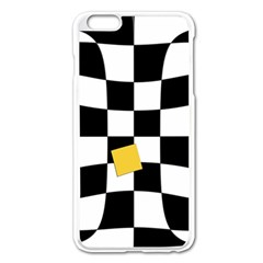 Dropout Yellow Black And White Distorted Check Apple Iphone 6 Plus/6s Plus Enamel White Case by designworld65
