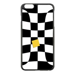 Dropout Yellow Black And White Distorted Check Apple Iphone 6 Plus/6s Plus Black Enamel Case by designworld65