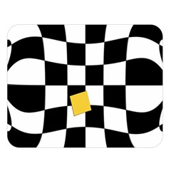 Dropout Yellow Black And White Distorted Check Double Sided Flano Blanket (large)  by designworld65