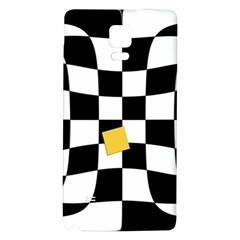 Dropout Yellow Black And White Distorted Check Galaxy Note 4 Back Case by designworld65