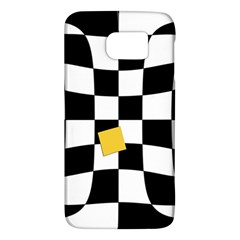 Dropout Yellow Black And White Distorted Check Galaxy S6 by designworld65