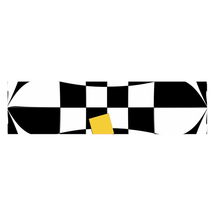 Dropout Yellow Black And White Distorted Check Satin Scarf (Oblong)