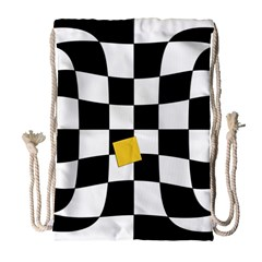Dropout Yellow Black And White Distorted Check Drawstring Bag (large) by designworld65